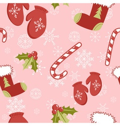 Seamless pattern with christmas mittens vector