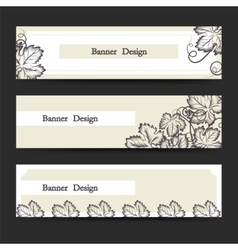 Horizontal banner set with grape leaves vector