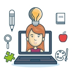 laptop woman education online concept design vector image