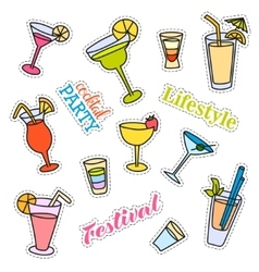 Fashion patch badges cocktail set stickers pins vector