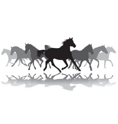Trotting horses silhouette background vector