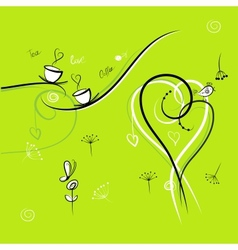 Green background with funny birds for your design vector image
