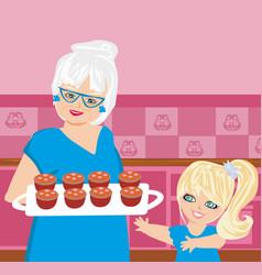 Grandma baking cookies with her granddaughter vector