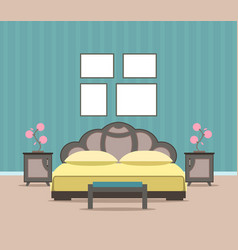 Bedroom living room interior design in flat style vector