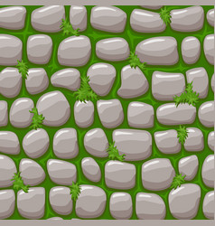 gray old stone on grass texture cartoon seamless vector image