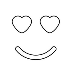 Smile with heart eyes black color icon vector