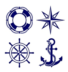 Set of marine symbols vector image