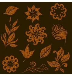 Grunge leaves vector