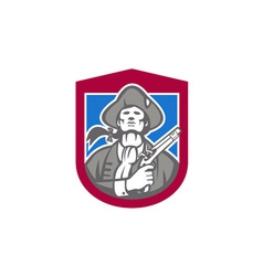 American patriot with flintlock shield retro vector