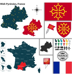 Map of midi pyrenees vector