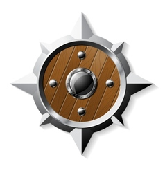 Shield from steel and wood in star shape vector