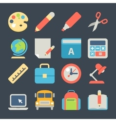 School and education flat icons for web mobile vector