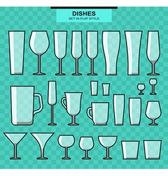 Set of different isolated glasses and stroke vector