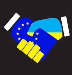 Symbol sign handshake european union and ukraine vector