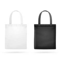 White and black fabric cloth bag tote vector