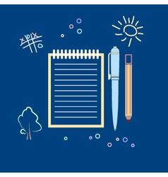 Notebook with the pen and a pencil vector