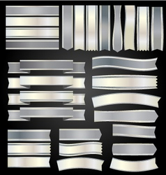 Silver ribbons and banners vector