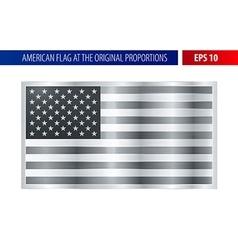 Silver American flag in a metallic frame vector image