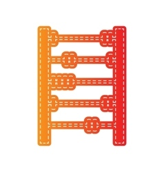 Retro abacus sign orange applique isolated vector