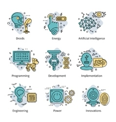 Artificial Intelligence Colored Icon Set vector image