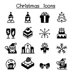 basic christmas icon set vector image