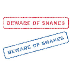 Beware of snakes textile stamps vector