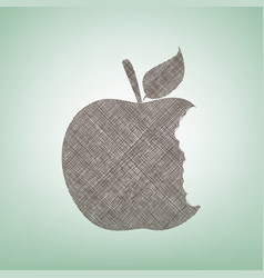 Bited apple sign brown flax icon on green vector