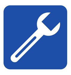 Blue white information sign - spanner icon vector