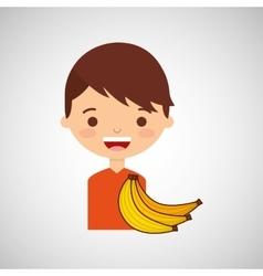 Boy smiling cartoon banana icon design vector