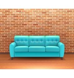 Brick wall interior with sofa realistic vector