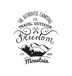 Camp logo hand drawn vintage tourist label vector