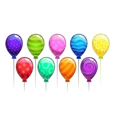 Cartoon colorful balloons set vector