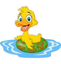 Cartoon funny duck floating with inflatable ring vector image vector image