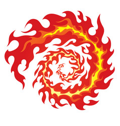 Circle of red flames vector