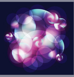 Circles and bubbles lilac and purple on dark vector