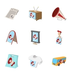 Contextual advertising icons set cartoon style vector