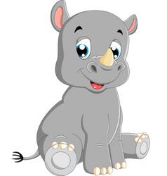 cute baby rhino sitting vector image