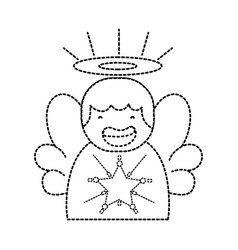 Dotted shape cute angel with wings and aureole vector