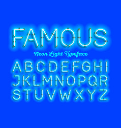 famous neon light typeface vector image vector image