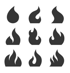 fire icon set on white background vector image