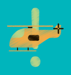 Flat icon in shading style helicopter vector