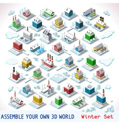 Game Set 07 Building Isometric vector image vector image