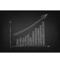 Growing graph hand drawing with arrow on black vector image