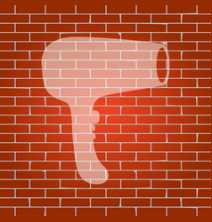 hair dryer sign whitish icon on brick vector image vector image