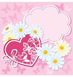 Heart and daisies on a pink background with butter vector image vector image