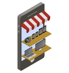 Isometric store online shopping vector