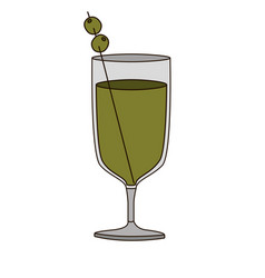 Light coloured silhouette of glass cup cocktail vector