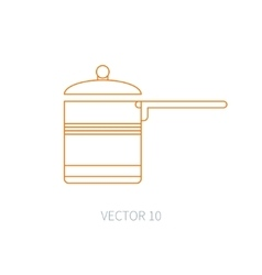 Line flat kitchenware icons - pan pot vector image vector image