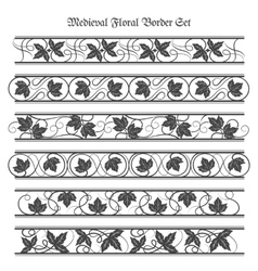 Medieval floral border set vector