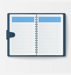 open realistic notebook with pages diary office vector image vector image